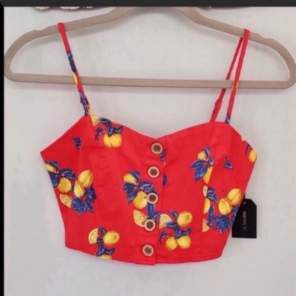 🆕✨ Forever 21 Crop Top Red Floral Size S